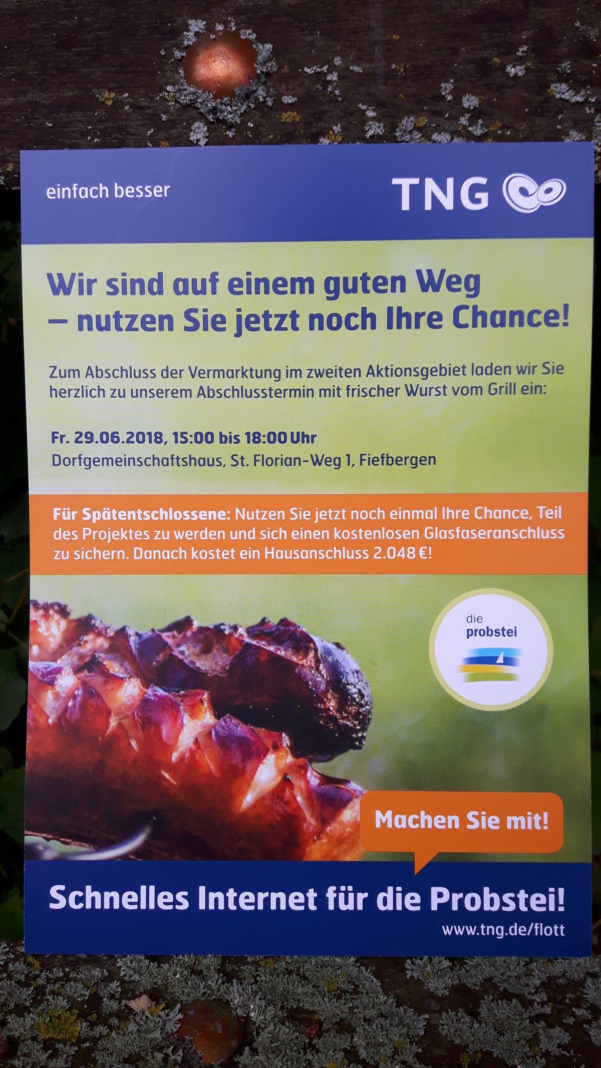 TNG Grillfest zum Abschluss der Vermarktungsphase